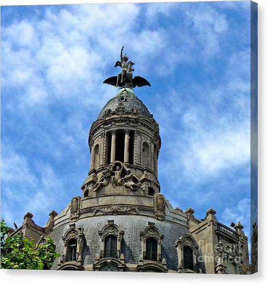 Roof Top Statue Canvas Print
