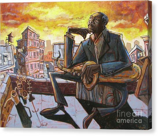 Saxophone Canvas Print - Roof Trane by Sean Hagan