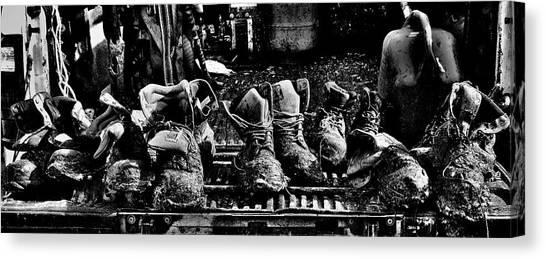 Roofers Tar Boots Take A Break Canvas Print