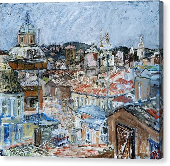 Roofs Of Rome Canvas Print by Joan De Bot