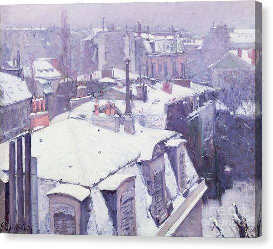 Winter Canvas Print - Roofs Under Snow by Gustave Caillebotte