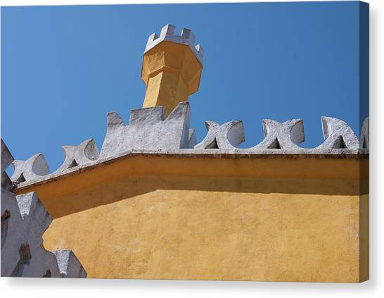 Rooftop Study Of Pena Palace -sintra, Portugal Canvas Print by Connie Sue White