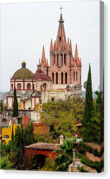Rights Managed Images Canvas Print - Rooftop View Of La Parroquia De San Miguel Arcangel by Rob Huntley