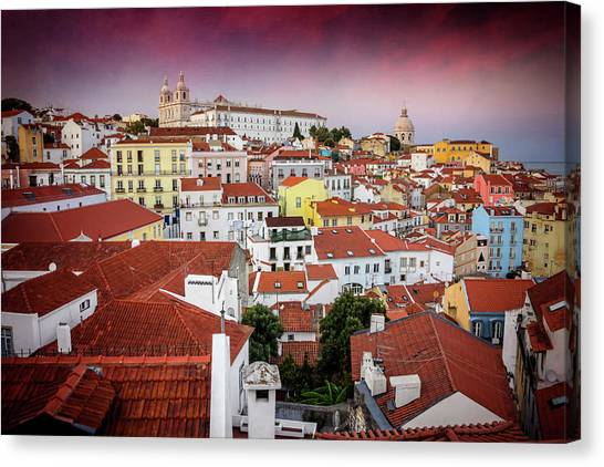 The Forum Canvas Print - Rooftops Of Alfama Lisbon  by Carol Japp