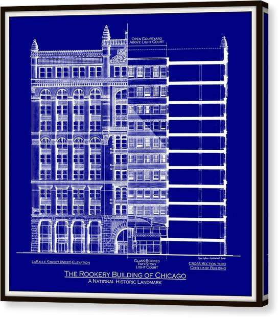 Rookery building chicago blueprint drawing by gene nelson rookery building chicago blueprint canvas print by gene nelson malvernweather Image collections