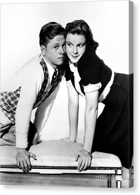 Judy Garland Canvas Print - Rooney And Garland, 1938 by Granger