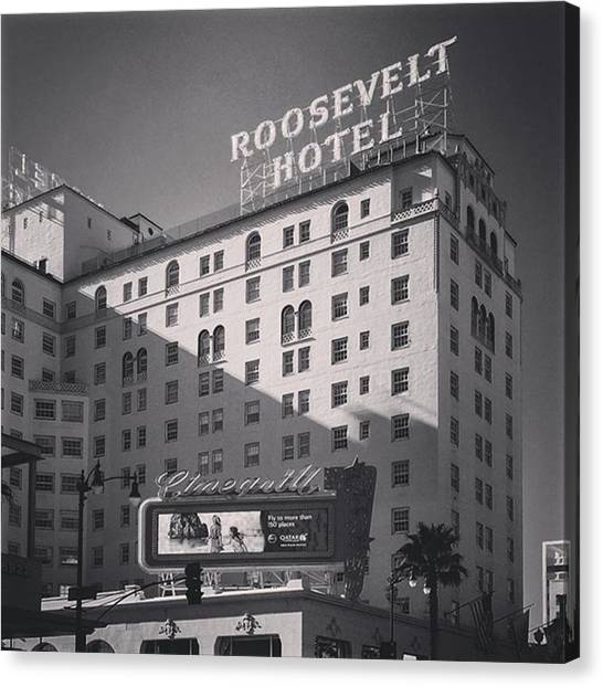 Hollywood Canvas Print - #roosevelthotel In #hollywood by Alex Snay