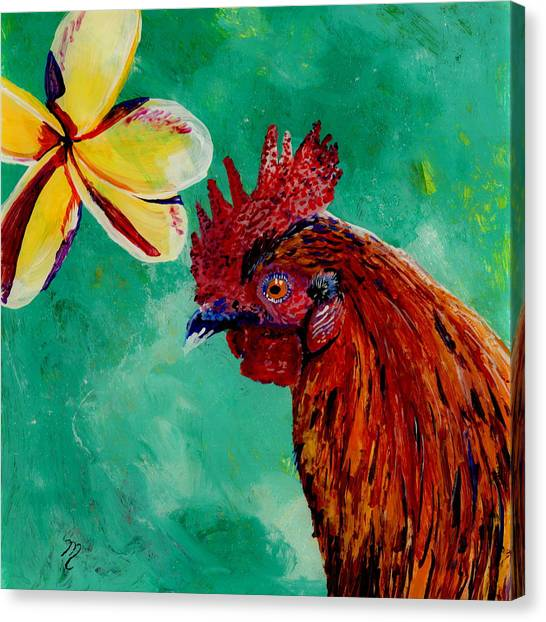 Rooster And Plumeria Canvas Print