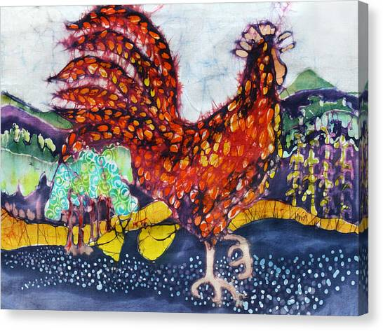 Rooster In The Morning Canvas Print