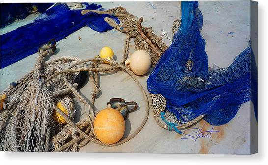 Corde Canvas Print - Ropes Nets And Bouys by Charles Stuart