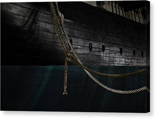 Ropes On The Uss Constellation Navy Ship Canvas Print