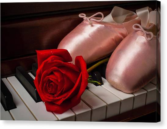 Dance Ballet Roses Canvas Print - Rose And Ballet Shoes by Garry Gay