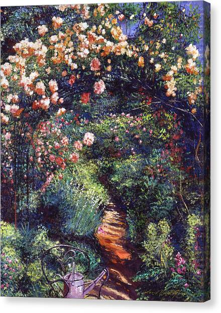 Arbor Canvas Print - Rose Arbor Pathway by David Lloyd Glover
