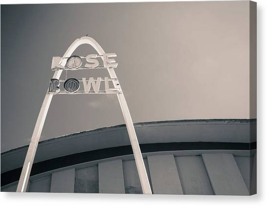 Historic Route 66 Canvas Print - Rose Bowl Tulsa Route 66 - Monochrome by Gregory Ballos