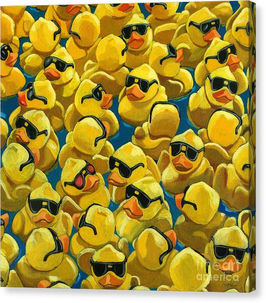 Ducks Canvas Print - Rose Colored Glasses by Linda Apple