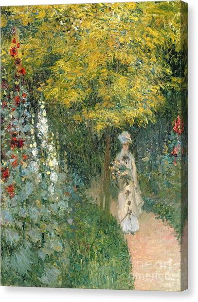 Jardin Canvas Print - Rose Garden by Claude Monet
