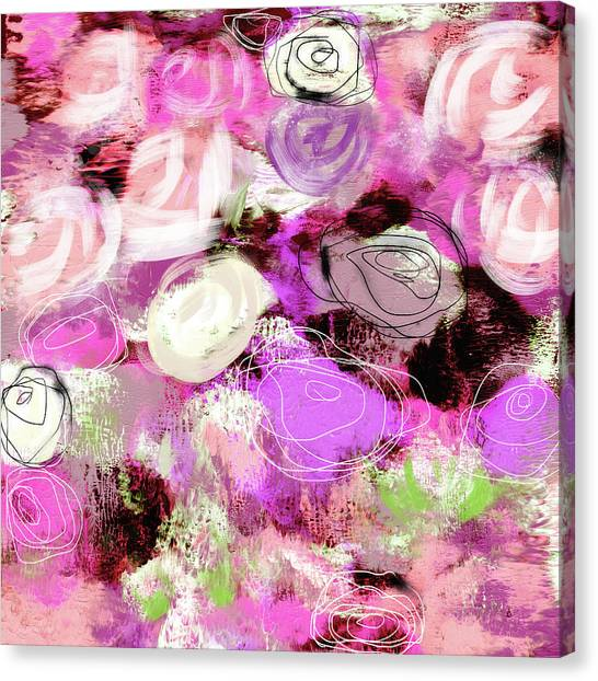 Abstract Expressionist Canvas Print - Rose Garden Promise- Art By Linda Woods by Linda Woods