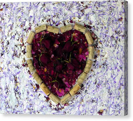 Rose Heart Cork Collage Canvas Print