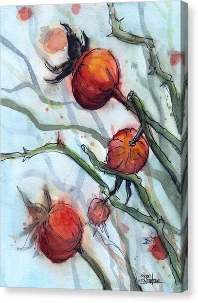 Hips Canvas Print - Rose Hips Abstract  by Olga Shvartsur