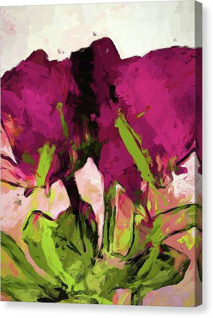 Rose Romantica Magenta Green Canvas Print