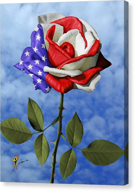 Rose White And Blue Canvas Print