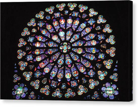 Rose Window Of Notre Dame Paris Canvas Print