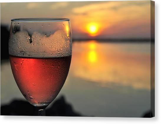 Rose Wine   Key Largo Sunset   Life Is Good Canvas Print by Jonathan Galente