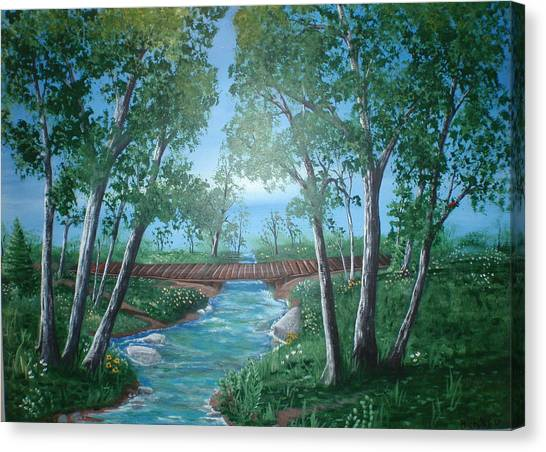 Dan Connor Canvas Print - Roseanne And Dan Connor's River Bridge by Susan Michutka