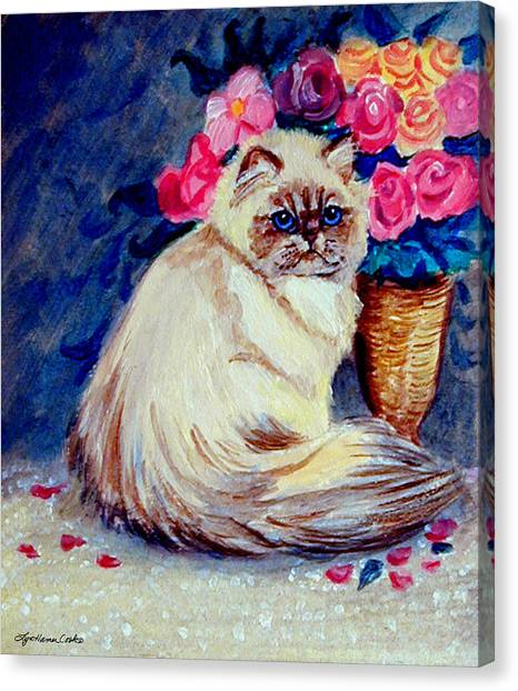 Himalayan Cats Canvas Print - Roses - Himalayan Cat by Lyn Cook