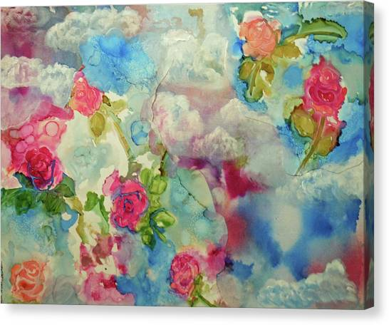 Roses Among The Clouds Canvas Print