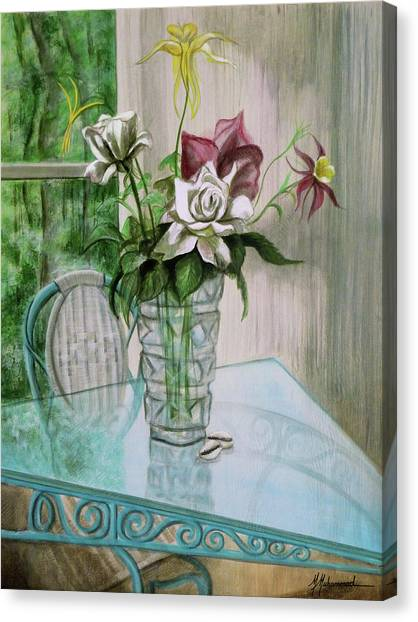 Roses And Columbine Canvas Print by Marcella Muhammad