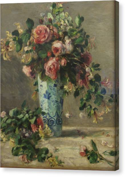 Roses And Jasmine In A Delft Vase Canvas Print by Pierre Auguste Renoir