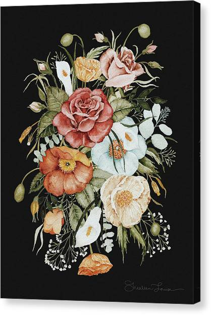 Romantic Flower Canvas Print - Roses And Poppies Bouquet by Shealeen Louise