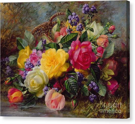 Rose In Bloom Canvas Print - Roses By A Pond On A Grassy Bank  by Albert Williams