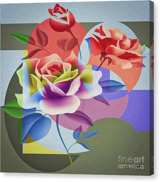 Canvas Print featuring the digital art Roses For Her by Eleni Mac Synodinos