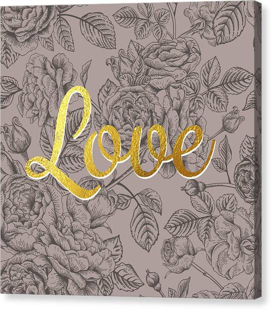 Word Art Canvas Print - Roses For Love by BONB Creative