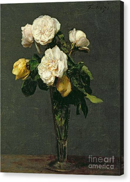 Roses Canvas Print - Roses In A Champagne Flute by Ignace Henri Jean Fantin-Latour