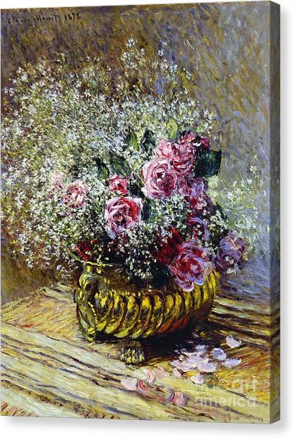 Rose In Bloom Canvas Print - Roses In A Copper Vase by Claude Monet