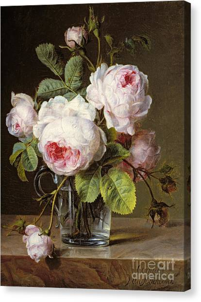 Rose In Bloom Canvas Print - Roses In A Glass Vase On A Ledge by Cornelis van Spaendonck