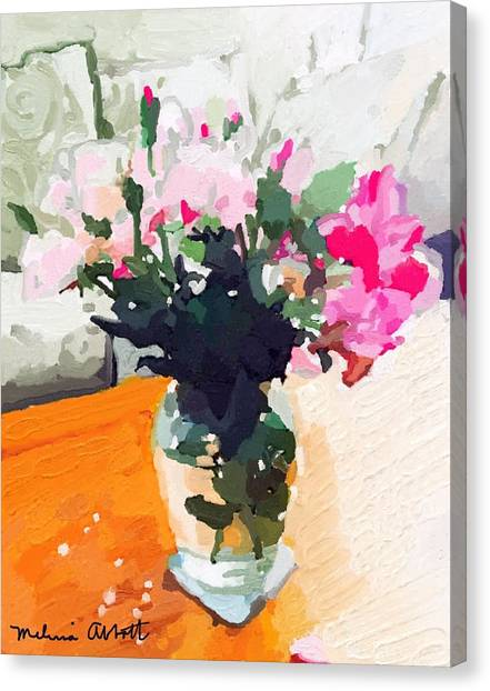 Roses In The Living Room Canvas Print