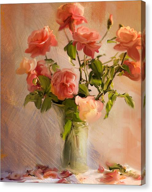 Roses La Belle Canvas Print by Linde Townsend
