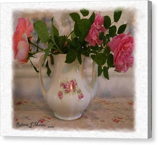 Roses On Breakfast Table  Canvas Print