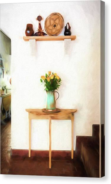 Canvas Print featuring the digital art Rose's On Table by Lou Novick
