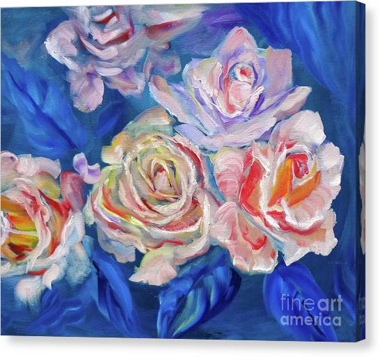 Roses, Roses On Blue Canvas Print