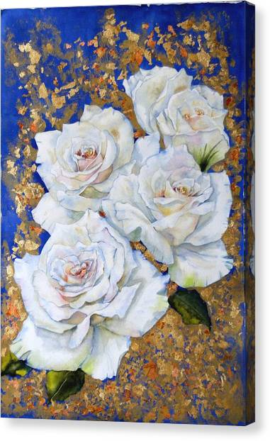 Roses With Gold Leaf Canvas Print