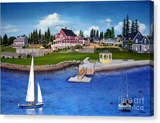 Rosewood Cottages Nova Scotia Canvas Print by Donald Hofer
