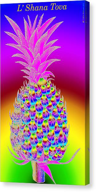 Dada Art Canvas Print - Rosh Hashanah Pineapple by Eric Edelman