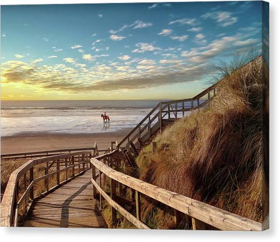 Rossnowlagh Beach At The End Of The Day - With A Horse Canvas Print