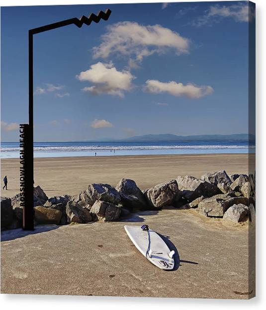 Rossnowlagh Beach On The Wild Atlantic Way With A Surfboard And Rocks Canvas Print