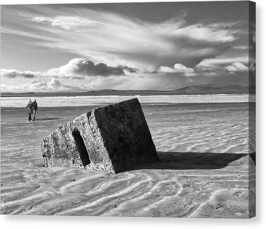 Rossnowlagh Beach - The Old Wartime Fortifications Sinking In The Sand With A Dramatic Sky Canvas Print